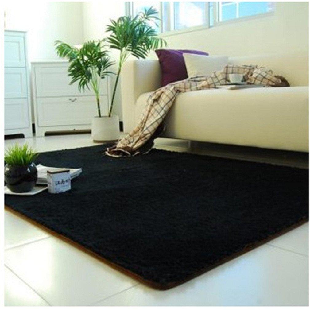1PCS 80X120cm Floor Carpets Anti-Skid Shaggy Rug Sofa Soft Water Absorption Mat Yoga Mats Black 80x120cm