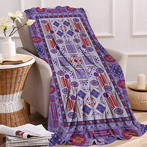 Greek Afghan Throw Blanket - Afghan Throw Blanket Timeless Tribal Pattern with Middle Eastern Folklore Traditional Afghan Shapes Dots Velvet Plush Throw Blanket 60x36 Inch Multicolor