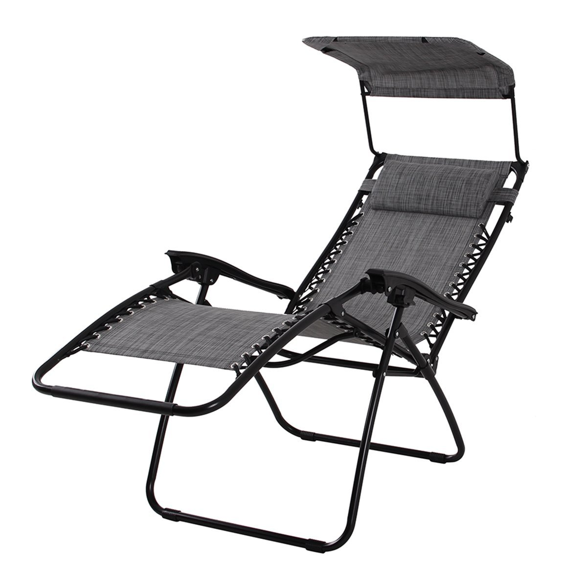 PHI VILLA Textilene Zero Gravity Lounge Chair Patio with Canopy Folding Adjustable Reclining Chair, Light Grey by PHI VILLA
