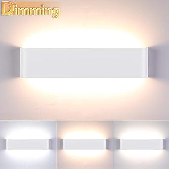 Lightess Apliques de Pared Regulable LED 18W 40CM Lámpara de Pared Interior Luz Moderna Agradable Luz de Aluminio Iluminación para Salón, Dormitorio, Sala, Pasillo, Escalera, Blanco: Amazon.es: Iluminación
