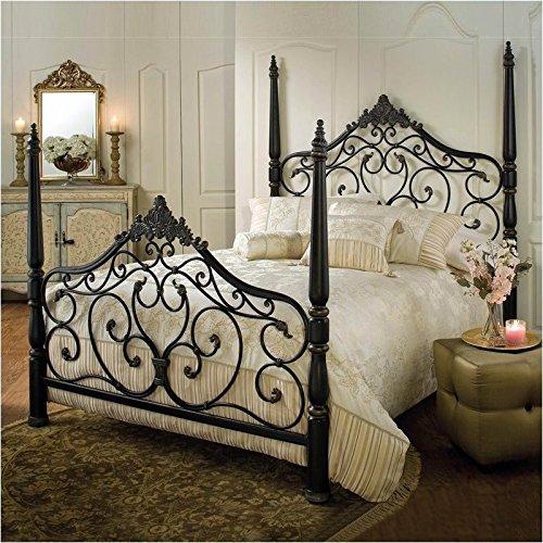 Hillsdale Furniture 1450BQR Parkwood Bed Set with Rails, Queen, Black Gold - Poster Footboard