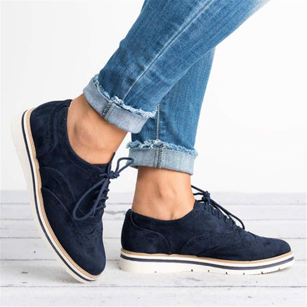 eebbccb9909be Zapatos Planos con Cordones Mujer Brogue Zapato Talón Plano Gamuza Colores  Manera Tallas Grandes Botas Negro Rosa Gris Azul Marrón 35-43  Amazon.es   Zapatos ...