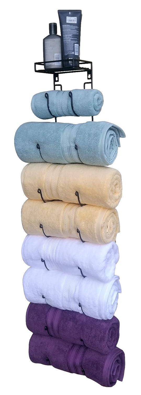 Premium Presents Bath Towel Rack in Bathroom. Wine Racks in Kitchen. Wall Mounted Shelves for Towels hat Organization. Great Decor Accessories. Metal Hooks. 3 Pieces Brand. (Black)