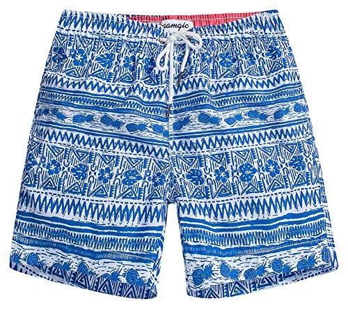 MaaMgic Mens Slim Fit Quick Dry Pineapple Short Swim Trunks With Mesh Lining Swimwear Bathing - Stores Designer Mens