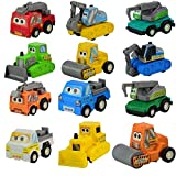 Jellydog Pull Back Vehicles,12 Pack Assorted Construction Car,Raced Truck Playset, Die Cast Vehicles, Toy Car for Boy Toddler