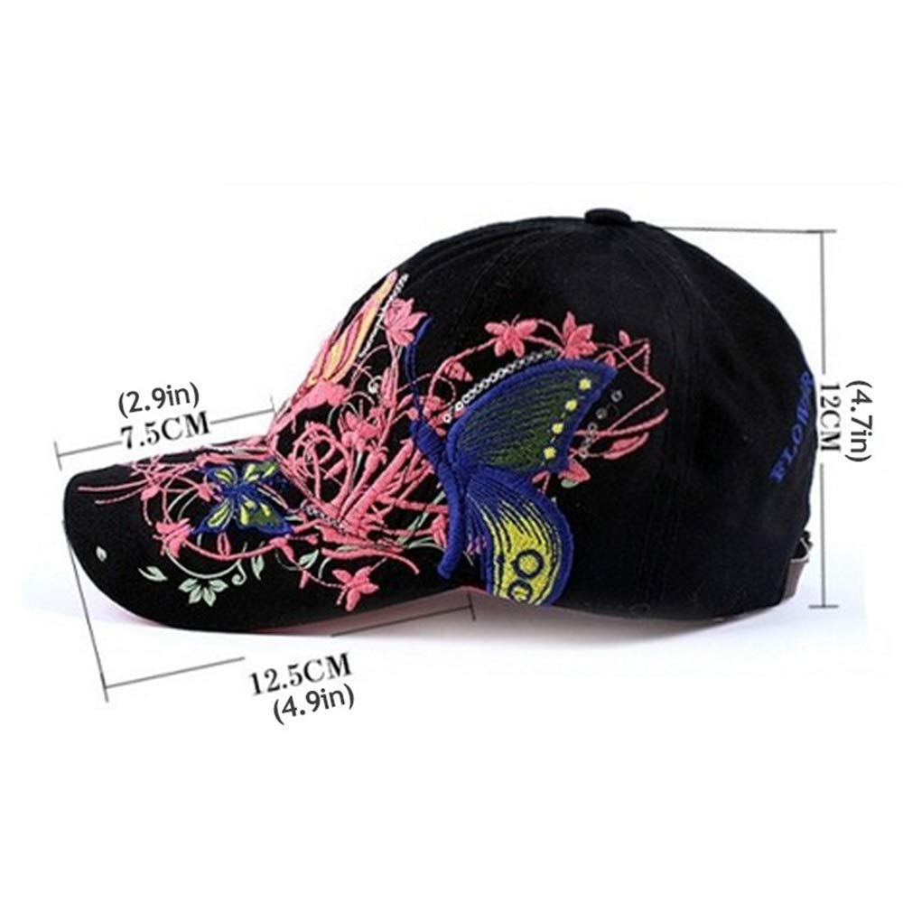 1Pcs Elegant Exquisite Women Butterfly Embroidery Baseball Cap Outdoor Sport Sun Hat