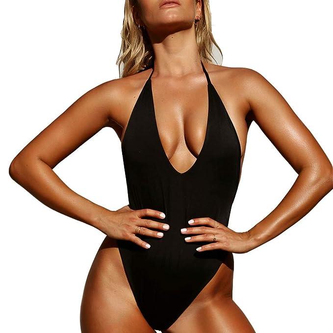 93e956b52d3 Siren Sexy Women's One Piece Swimear Backness Swimsuits Halter High Cut  Monikini Bathing Suit W9508 at Amazon Women's Clothing store: