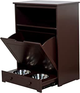 Facilehome Pet Food Feeder Station Storage Cabinet,Dog Food Storage and Feeding Station,Dog and Cat Toy Bin Storage