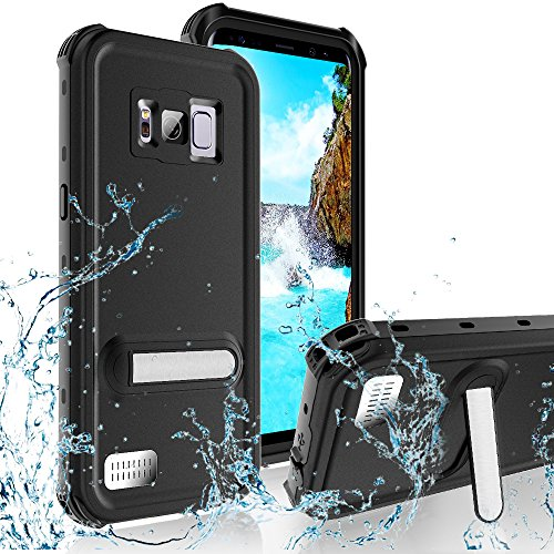 Transy Waterproof Case for Samsung Galaxy S8 IP68 Waterproof Full Body Shockproof Dropproof Dirtproof Case with Kickstand (Black)