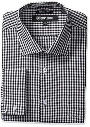 STACY ADAMS Men's Gingham Check Dress Shirt, Black, 17.5