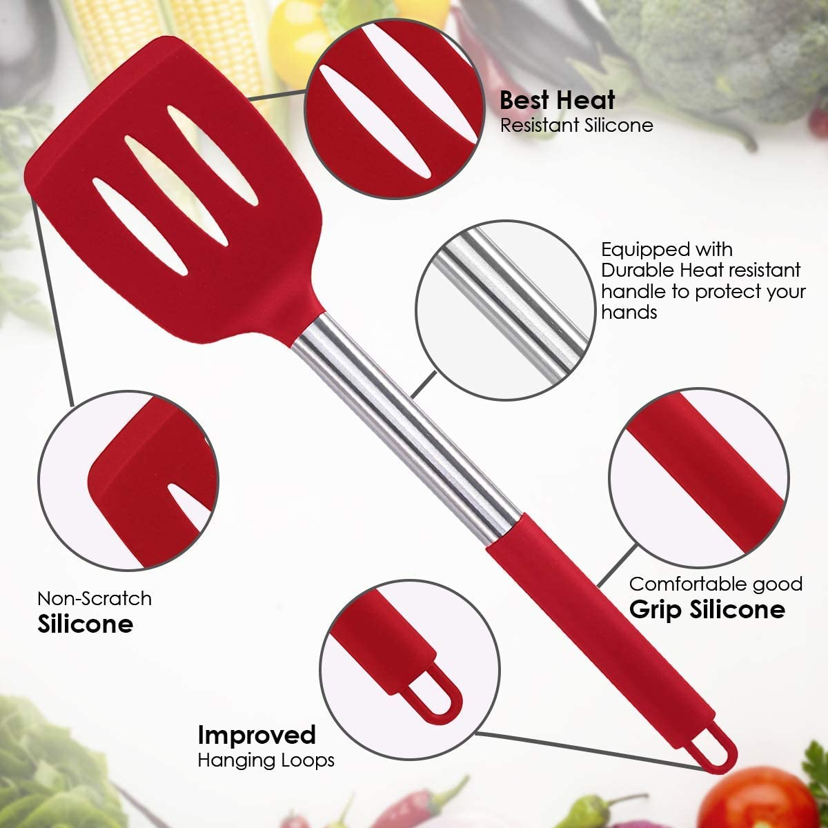 Silicone Cooking Utensil Sets Black 15 pcs Kitchen Utensils Set BPA-Free Cookware Kitchen Tools Set Non-Stick Heat Resistant Silicone Cookware with Stainless Steel Handle Red