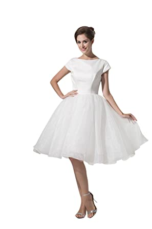 Elegant Princess Cheap Prom Dresses Short Sleeve Ball Gown Wedding Dress 4374 14 White