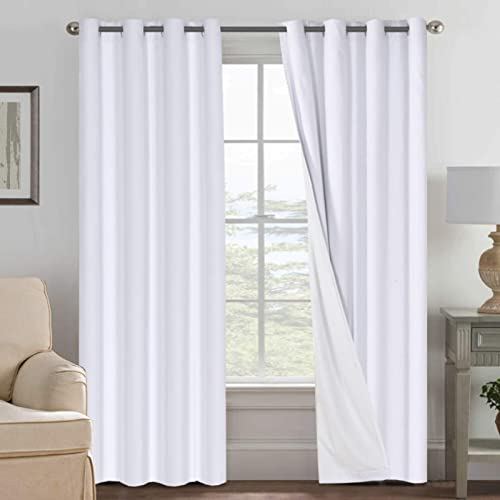 Linen Blackout Curtains 108 Inches Long 100 Absolutely Blackout Thermal Insulated Textured Linen Look Curtain Draperies Anti-Rust Grommet