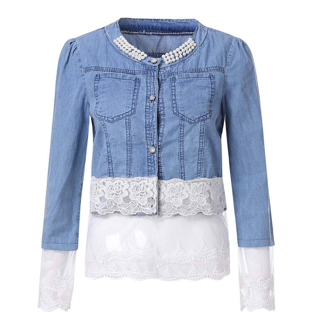Womens Denim Jacket,Ladies Lace Casual Half Sleeve Cardigan Buttons Pockets Bead Outwear Plus Size Jean Coat Tops