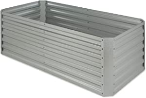 Blumfeldt High Grow Straight Raised Bed, Garden Bed, Flowers, Herbs and Vegetables, Expandable, 250 Gallons, Steel, Weather-Resistant, Galvanized, Silver