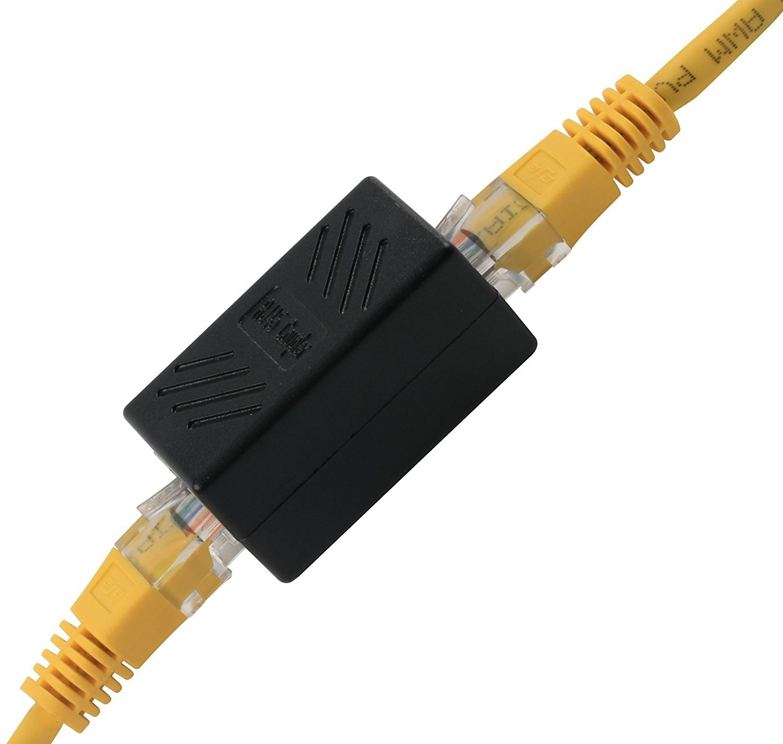 MYJK Pack of 6 Pcs RJ45 Coupler LAN Verbinder RJ45 Coupler Extender-Black
