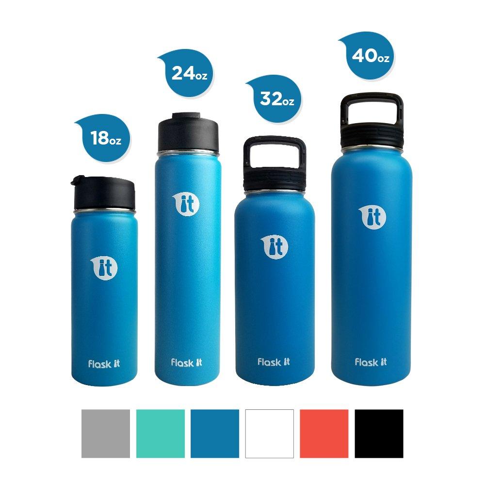 フラスコIt Wide Mouth二重壁真空断熱パウダーコーティングSweatproofステンレススチールウォーターボトル。Cold for 24時間、ホットの12時間、BPAフリー、フタル酸、鉛フリー。 B074N4WKGK ブルー(Pacific Blue) 24