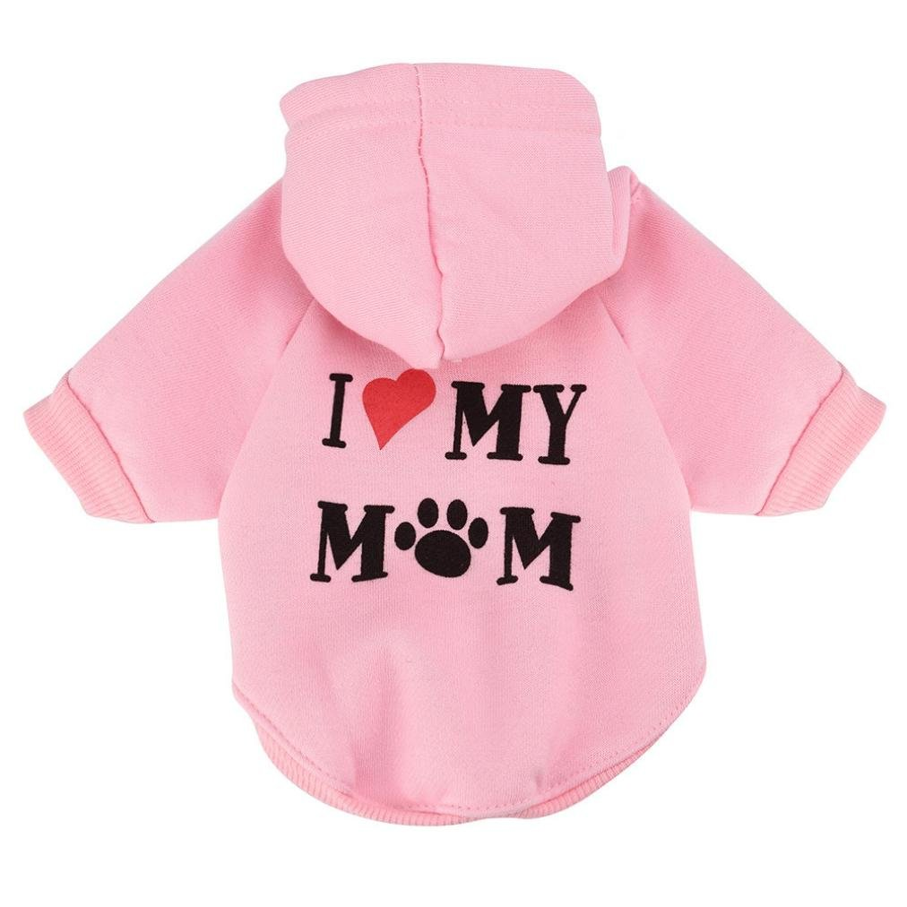 Napoo Pet Clothes,Fashion Love My Mom Puppy Hoodie Sweater Cotton Blend T-Shirt Apparel (Pink, M)