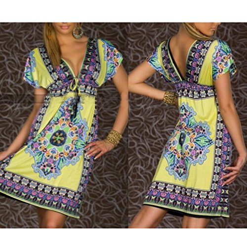 Verano para Dress Mujer Yellow Corta Slim 1 Fit Mangas Sexy Party Culleo Vestido Honghu Low AqSzxAd1