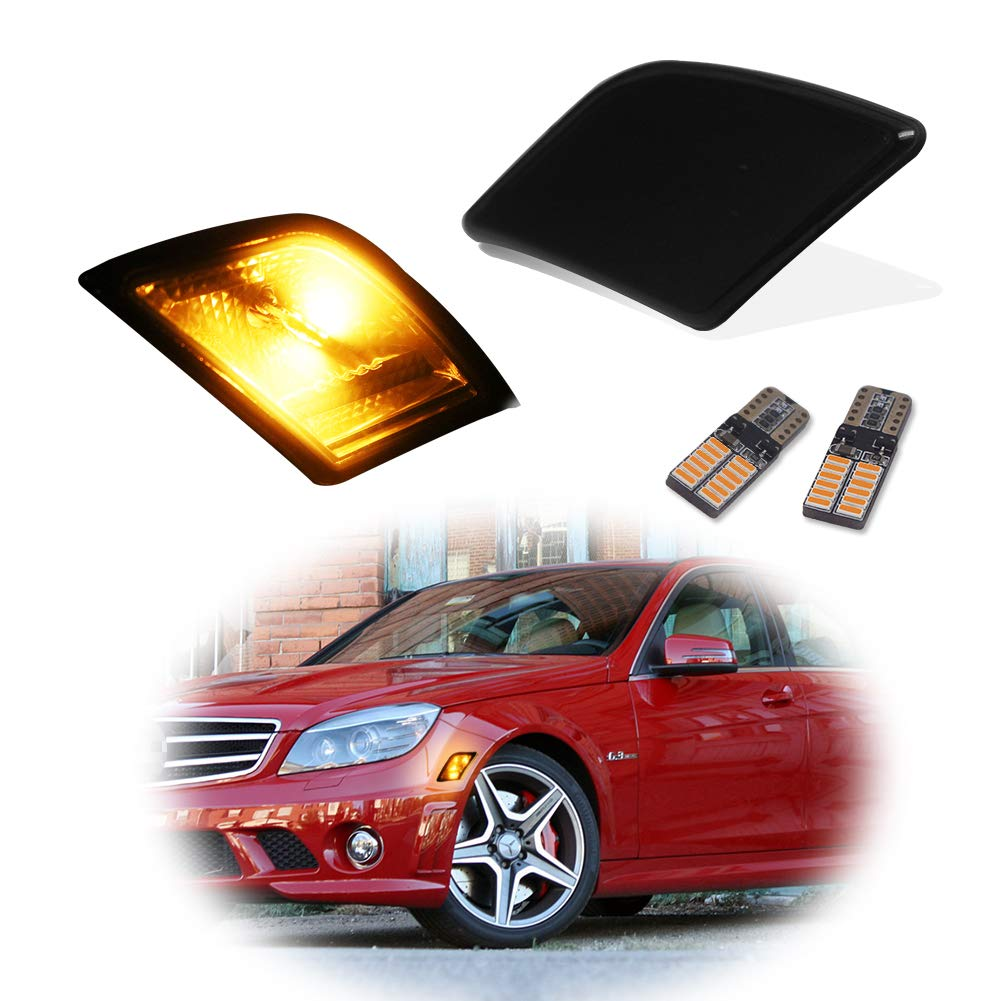 GTINTHEBOX CAN-bus Error Free Clear Lens Covers Fender Side Marker Lamps with Pure Amber LED Lights For 2008-2011 Mercedes Benz W204 C250 C300 C350 /& 2008-2013 C63 AMG