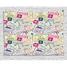 Traveller Decor Tapestry by Ambesonne, Passport Visa Stamps Illustration Toronto Hong Kong Berlin Print, Wall Hanging for Bedroom Living Room Dorm, 80WX60L Inches, Egg Shell and Pink