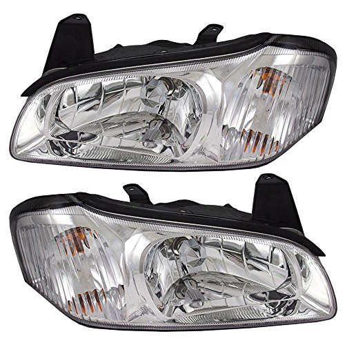 Headlights Headlamps with Chrome Bezel Driver and Passenger Replacements for 00-01 Nissan Maxima 26060-2Y925 26010-2Y925