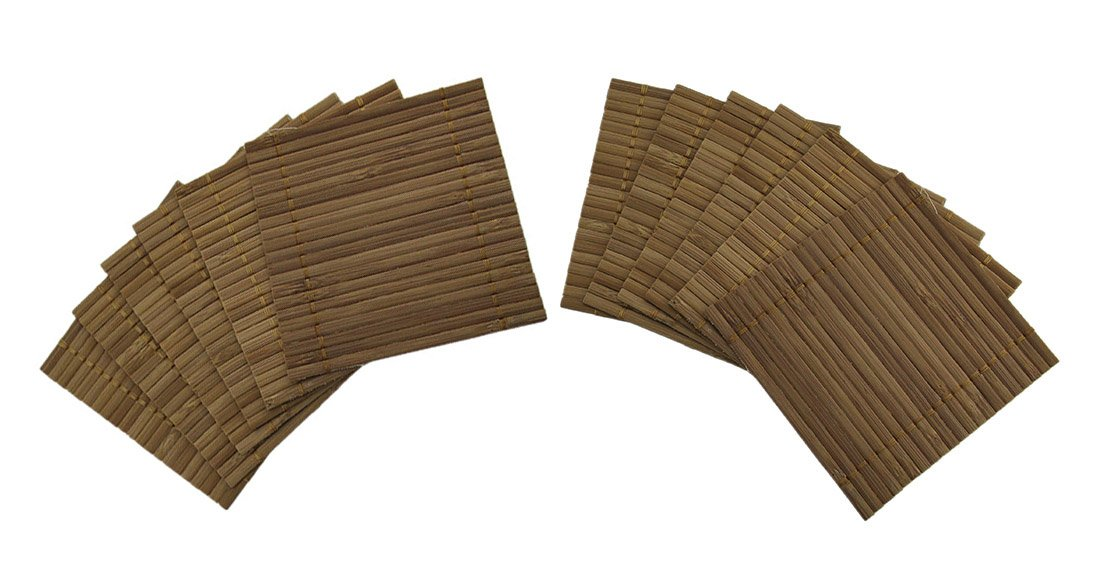 Bamboo Coasters 12 Piece Set Of 4 X 4 Inch Bamboo Mat Drink Coasters 4 X 0.13 X 4 Inches Brown