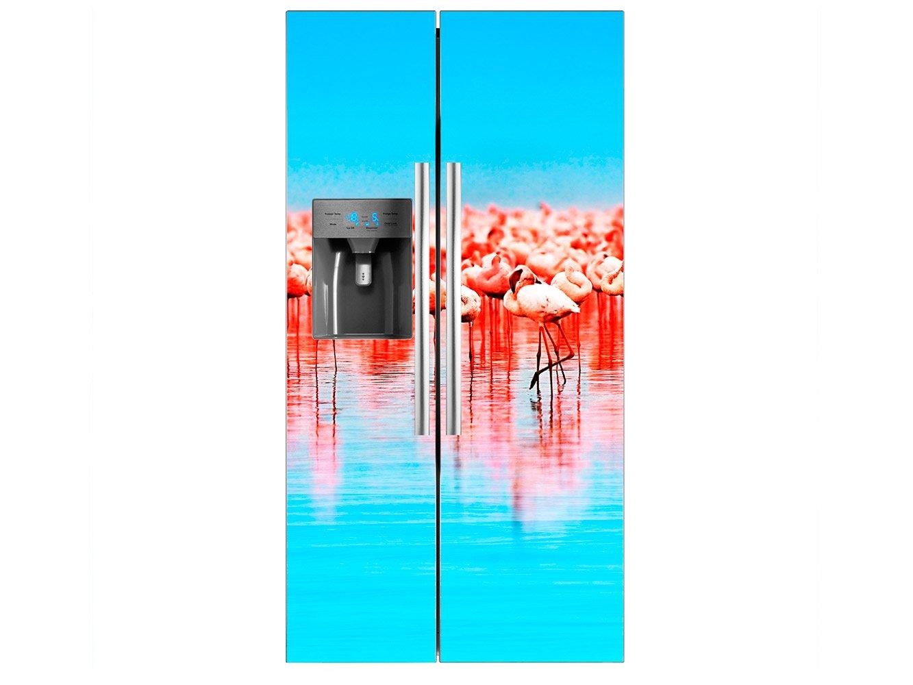Vinilo Frigorífico Americano Flamencos Agua Azul | 91x179cm ...