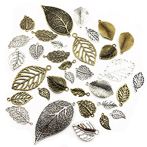 100g Craft Supplies Mixed Tree Leaves Pendants Beads Charms Pendants for Crafting, Jewelry Findings Making Accessory For DIY Necklace Bracelet (Leaf Charms M91)