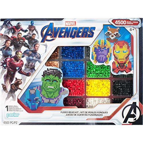 Perler PER8054346 Marvel Avengers Fuse Bead Kit, 4503pc, 10 Patterns, -