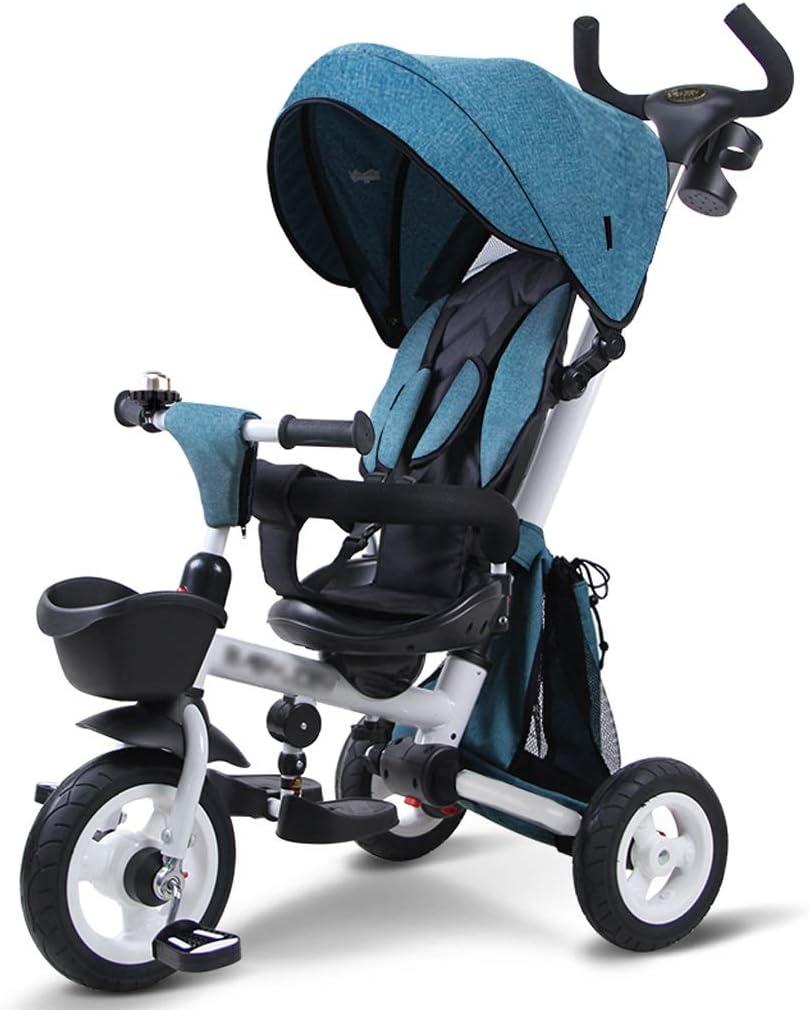 BLWX - Bicicleta de Tres Ruedas para niños Bebé Plegable 1-3-5 años de Edad Carretilla autopropulsada Carrito Ligero Carrito Ligero Cochecito de bebé (Color : Azul)