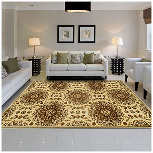 - Superior Marigold Collection Area Rug, Intricately Detailed Gold Medallion Pattern, 10mm Pile Height with Jute Backing, Affordable Contemporary Rugs - 5' x 8' Rug