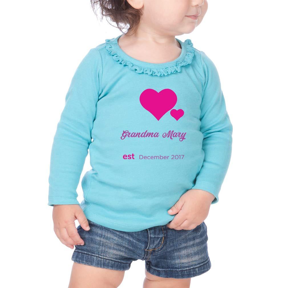 Custom Heart Love Family Cotton Girl Toddler Long Sleeve Ruffle Shirt Top
