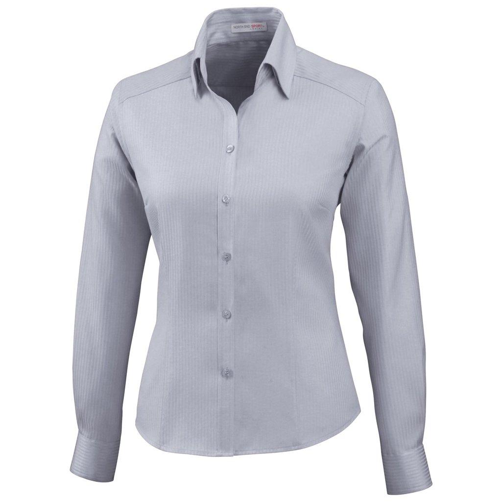 Ash City Ladies Jacquard Shirts (Small, Silver)
