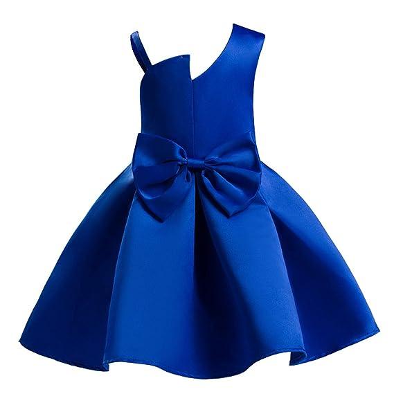 AnKoee Vestido Elegante Rojo y Azul Boda Fiesta para Niña (2 a 10 Años) Vestido de Princesa para Dama de Honor
