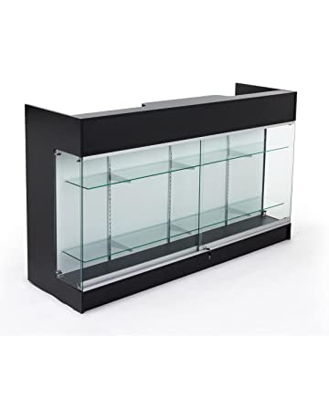 5e8bcf401 Displays2go Sales Counter with Glass Shelves, Tempered Glass, Laminated  Particle Board, Locking Drawers