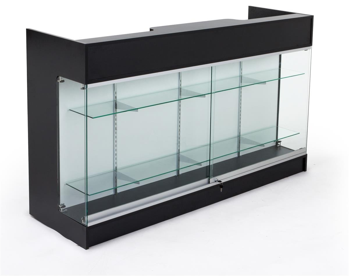 Displays2go Sales Counter with Glass Shelves, Tempered Glass, Laminated Particle Board, Locking Drawers – Black (MRCLSC72BK)