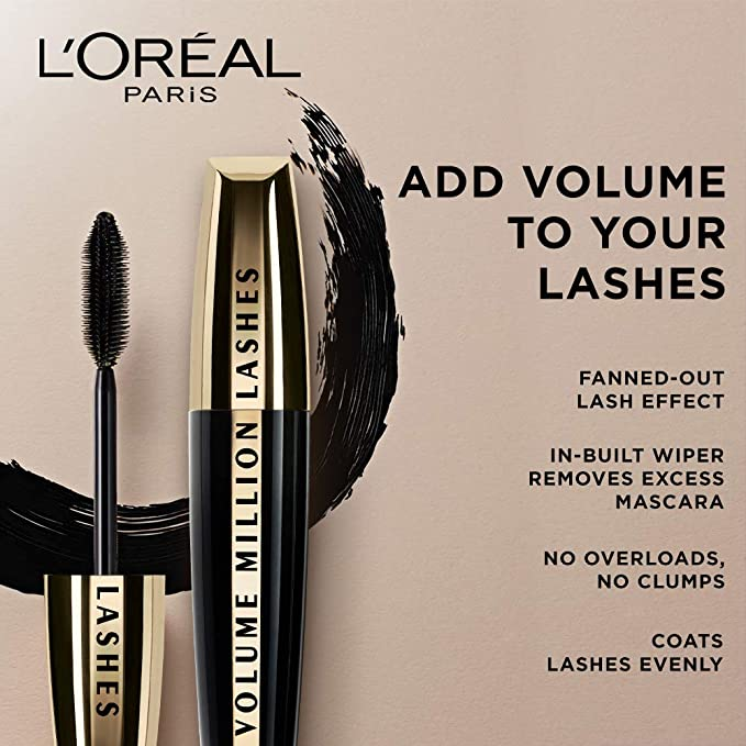 9154604f4d9 Buy L'Oreal Paris Volume Million Lashes Mascara, Washable, Black, 10.7ml  Online at Low Prices in India - Amazon.in