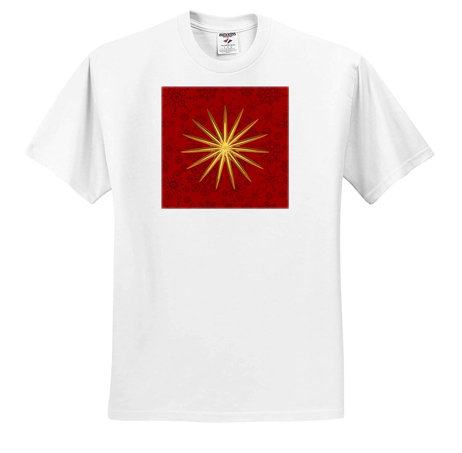 Golden Christmas Star on Red Texture T-Shirts 3dRose Andrea Haase Christmas Illustration