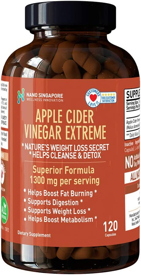 Apple Cider Vinegar Extreme 1300mg - Detox Cleansing, Weight Loss, No Liquid Side Effects - 120 Capsules