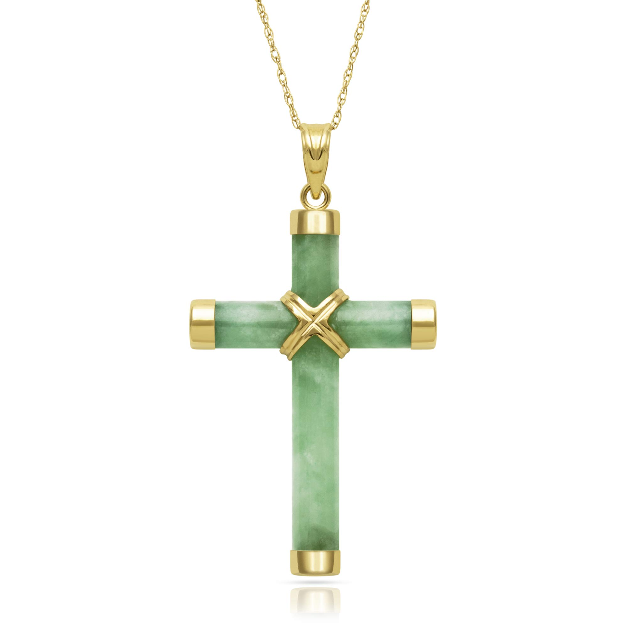 14k Yellow Gold Natural Jade Cross Necklace Charm, 18''