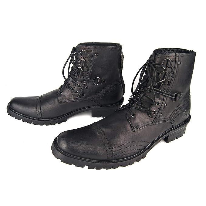 Zapatos de hombre punk rock botines botas de moto y botas militares con cordones de gran tamaño Martin botas casual vaquero botas: Amazon.es: Ropa y ...