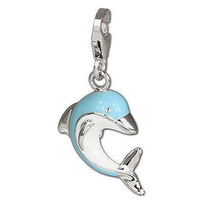 SilberDream Charm 925 Echt Silber Armband Anhänger blau weiß Delfin FC654   Amazon.de  Schmuck 9e012a9df7