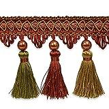 Expo International Tresa Pearl Tassel Fringe Trim Embellishment, 20-Yard, Rust/Sage