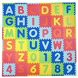 Tadpoles 36 Pc Soft EVA Foam ABC Embossed Playmat Set, Multicolor