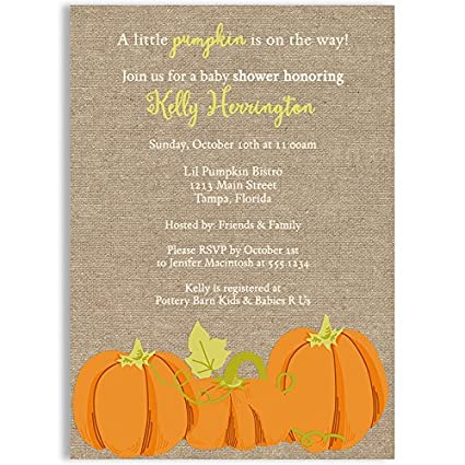 Awesome Lil Pumpkin Baby Shower Invitations, Unisex, Pumpkins, Fall, Orange, Autumn,
