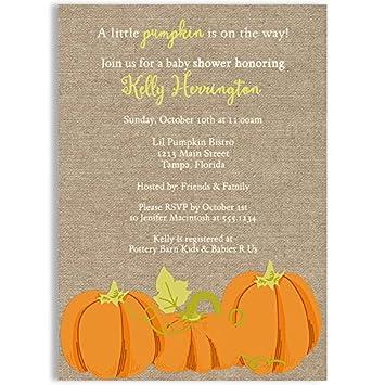 Lil Pumpkin Baby Shower Invitations, Unisex, Pumpkins, Fall, Orange, Autumn,