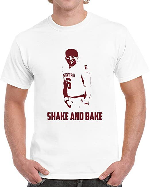 027eeed8 TSHIRTCZAR Cool Baker Mayfield Oklahoma Quarterback Crotch Grab Shake and  Bake College Football T Shirt S
