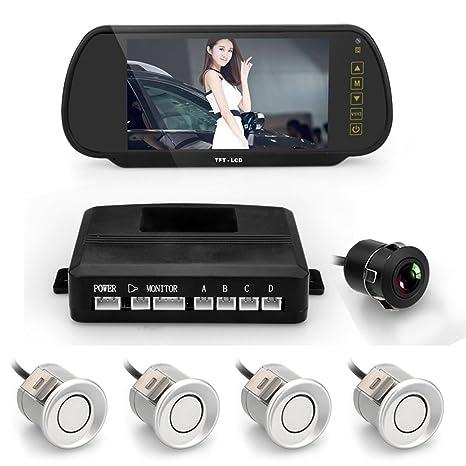 lmystar coche Kit de sensores de aparcamiento con cámara, cámara de visión trasera para coche
