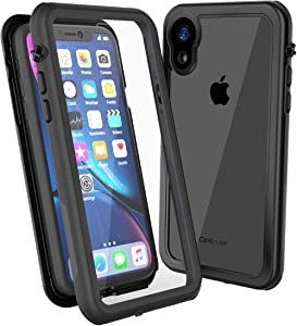 CellEver Clear iPhone XR Case Waterproof Shockproof IP68 Certified SandProof Snowproof Full Body Protective Clear Transparent Cover Fits Apple iPhone XR 6.1 inch (2018) - KZ Black